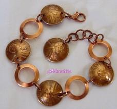 1979 Penny & Solid Copper Rings Bracelet 37 Birthday Anniversary Valentine Gift! - $29.69