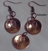 1991 Penny Earring & Pendant/Charm Set Copper Coins 25 Birthday Anniversary Gift - $15.83