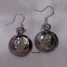 1990 Dime Earrings 26th Birthday Anniversary Silver Hooks Jewelry Valentine Gift - $9.89