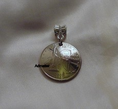 2001 North Carolina Quarter 3 D Pendant Bracelet Keychain Charm Flying Coin Art! - $9.89