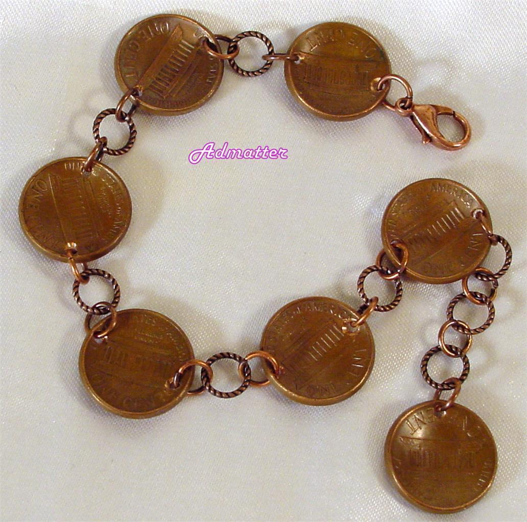2000 Penny Charm Bracelet Domed Copper Coin and similar items