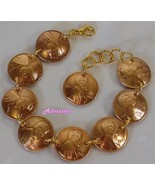 2003 LUCKY PENNY BRACELET GOLD PLATED RINGS 13th ANNIVERSARY BIRTHDAY VA... - $34.64