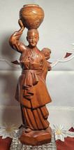 """Vintage Hand Carved Asian Woman with Pot on Head and Baby Wooden Statue 12"""" Tall"""