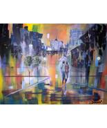 Original 24x36 Walk in The Rain Romance 4 Canvas Wall Art - $219.00