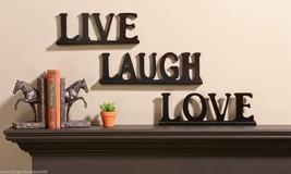 Set of 3 - Live Love Laugh Black Sentiment Table or Wall Decor 3 pc Set MDF