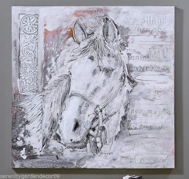 "31"" Horse Wall Print - Look and Texture of Oil Paint on Canvas Pine Wood Frame"