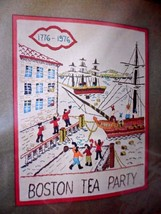 Vtg Bucilla Boston Tea Party Crewel Stitchery Picture Or Wall Panel Kit New - $24.45