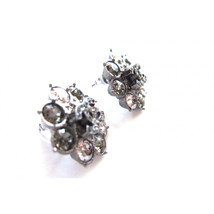 Authentic Chanel CC Crystal Cluster Silver Stud Earrings NEW