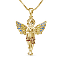Beauty Beby Boy Angel Wing Pendant Necklace Gold Plated Jewelry 925 Silver+Chain - $64.00