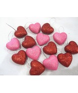 """Valentines Day Re Pink Glitter Hearts 1.5"""" Ornaments Decorations Decor S... - $16.99"""