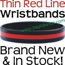 50 Thin RED Line Wristband Firemen Fire Fighter Support & Awareness Brac... - $38.88