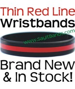 50 Thin RED Line Wristband Firemen Fire Fighter Support & Awareness Brac... - $38.88