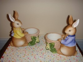 Partylite Bertie & Bea Bunny Rabbit Easter Votive Candle Holder Baskets P7735 - $18.99