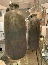 """TWO XXL TEXTURED TERRACOTTA DECORATIVE VASES POTS 20"""" & 16"""" AGED FINISH - $261.80"""