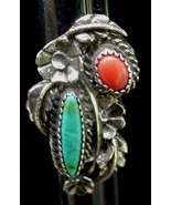 Old Ornate Silver Turquoise & Coral Ring Navajo Indian - $29.50