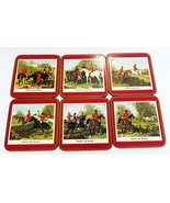 Vintage pimpernel 6 coasters traditional collection english fox hunting ... - $22.76