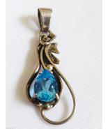 Sterling Silver 925 Pear cut Blue Topaz slide drop Pendant - $40.10