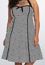 NEW TORRID WOMENS PLUS SIZE 26W 26 4X BARBIE BLACK & WHITE STRIPED HALTE... - $38.69