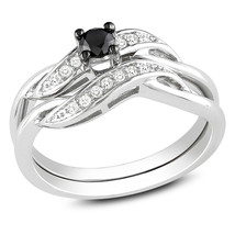 1/4 CT Black and White Simulated Diamond Sash Bridal Set in .925 Sterling Silver - $149.99