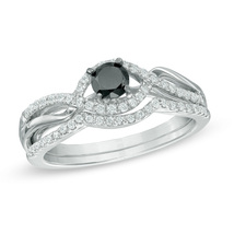 1/2 CT Black & White Simulated Diamond Bypass Bridal Set in Sterling Silver - $175.89