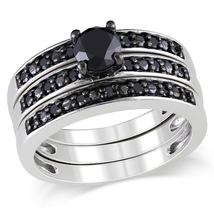 1 CT Black Simulated Diamond Three Piece Bridal Set in .925 Sterling Silver - $234.45