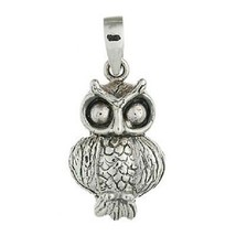 Silver pendant 925 sterling silver mysterious owl 21mm height stylish - $11.50