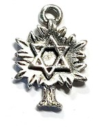 Tree with Star Of David Fine Pewter Pendant Charm - 2mm x 20mm x 14mm - $0.99