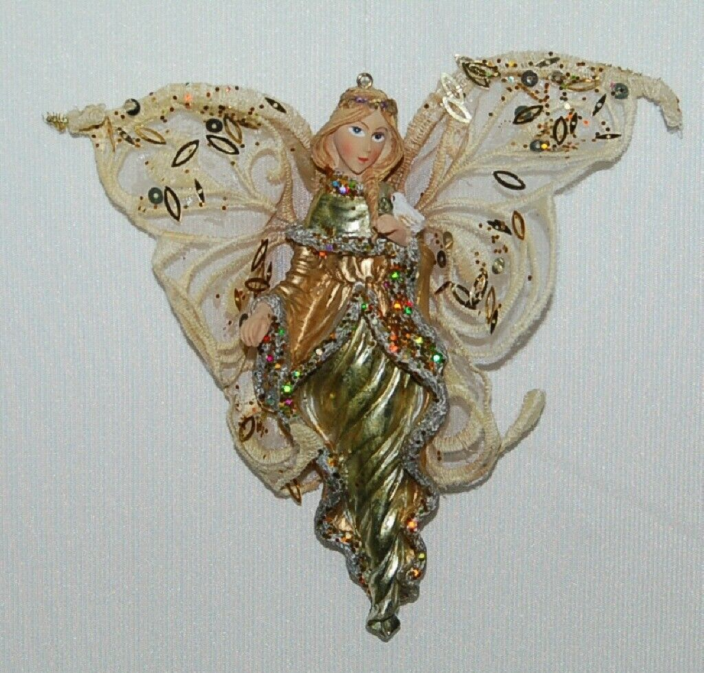 Sterling Angel Icicle Ornament Silver and Gold Bird Sequined Mesh Wings