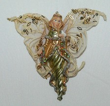Sterling Angel Icicle Ornament Silver and Gold Bird Sequined Mesh Wings image 1