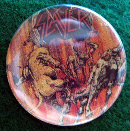 SLAYER Pinback Button pin badge 1986 near MINT