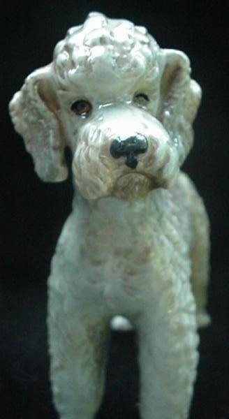 c.1968 Goebel Gray & Brown Pottery Poodle Dog Figurine