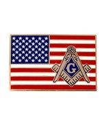 American Flag Masonic Logo Enamel Lapel/Tie Pin Freemason Emblem Square ... - $8.99