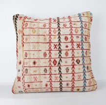 WHİTE RED KİLİM PİLLOW lady gift pillow WHİTE CUSHİON 18X18 İNCH LARGE C... - $19.00