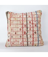 WHİTE RED KİLİM PİLLOW lady gift pillow WHİTE CUSHİON 18X18 İNCH LARGE C... - $55.00