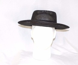 Vtg Dorfman Pacific Brown Straw Wide Brim Derby Hat with Floral Band Sz M - $29.45
