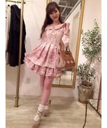 Liz Lisa Kawaii Beige Floral Onepiece Dress Japanese Fashion - $149.60