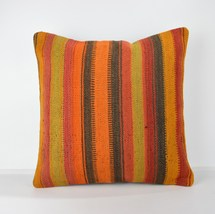 striped pillow striped cushion striped colored pillow colored kilim pill... - $19.00