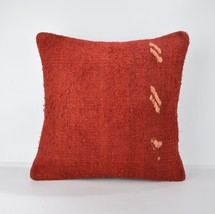 red wool kilim pillow rug wool pillow cover red pillowm red cushion 18x1... - $19.00