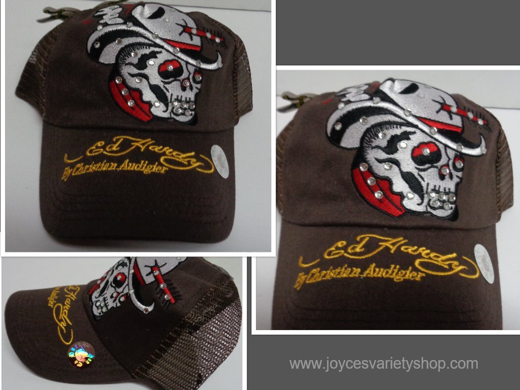 Brown ed hardy cowboy skull hat collage