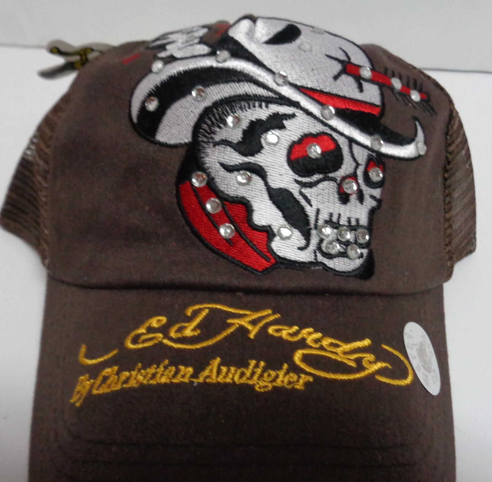 Vintage Hat Tattoos: Ed Hardy Brown Cowboy Skull Arrow Vintage Tattoo Cap Hat