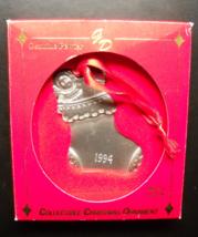 Gloria Duchin Christmas Ornament 1994 Stuffed Christmas Stocking Pewter Boxed - $7.99