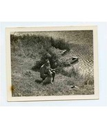 A Man His Dog and His Rifle Black and White Photo - £12.87 GBP