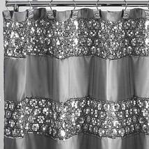 Popular Bath Sinatra Silver 70 x 72 Bathroom Fabric Shower Curtain & Hoo... - $35.99
