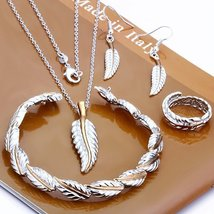 925 Silver Feather Necklace Bracelet Earrings Ring Fashion Jewelry Sets - $21.99