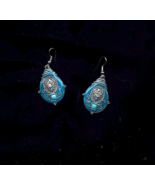 Enameled With Ab Crystal Pierced Turquoise Earrings - $5.00