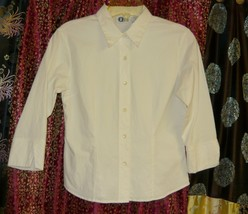 White Cotton/Spandex  Stretch Fitted Blouse Sz. Sm. - $5.00