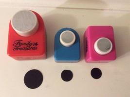 Lot of 3 Scrapbook Craft Paper Hole Punch Lg & Sm Circle  - $6.75