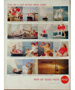 1958 COKE COCA-COLA VINTAGE PRINT AD! SAILBOAT SAILING THEME 1950'S OCEA... - $9.74