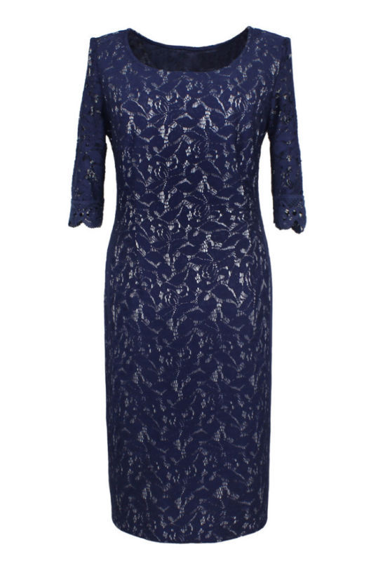 Royalty-Inspired Dark Navy Blue Full Lace Dress, Size 6