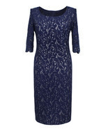 Royalty-Inspired Dark Navy Blue Full Lace Dress, Size 6 - $39.99